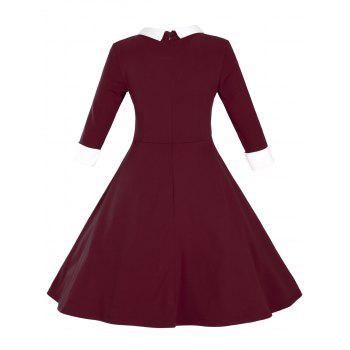Fit and Flare Color Block Vintage Dress - M M