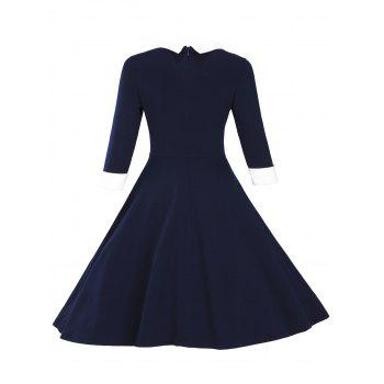 Fit and Flare Color Block Vintage Dress - PURPLISH BLUE S
