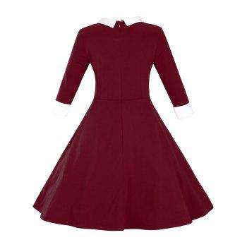 Retro Flat Collar Flare Dress - WINE RED M