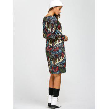 Christmas Leaf Antler Print A-Line Dress - ONE SIZE ONE SIZE