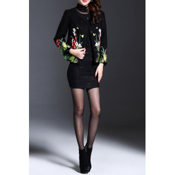 Plant Embroidered Buttoned Jacket - BLACK 2XL