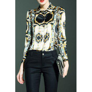 Button Up Printed Blouse