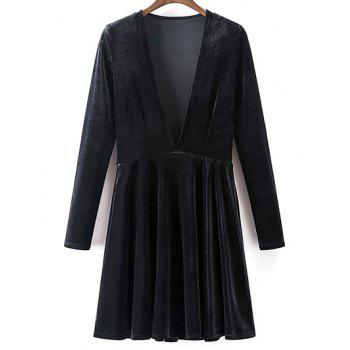 Velvet Long Sleeve A-Line Dress