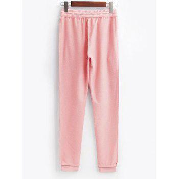 Cropped String Hoodie and Drawstring Gym Pants - PINK S