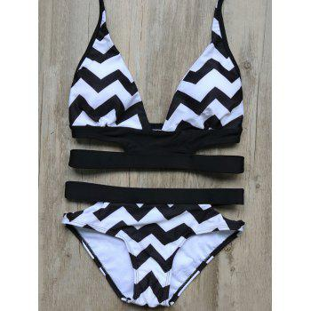 Zig Zag Cut Out Bandage Bikini Set