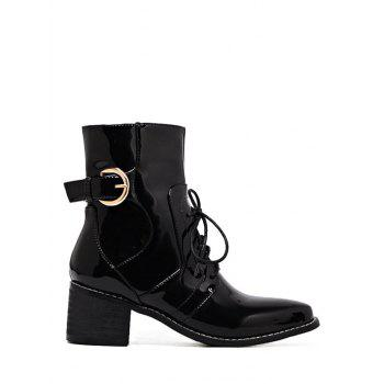 Patent Leather Buckle Strap Combat Boots
