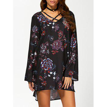 Long Sleeve Floral Boho Tunic Dress