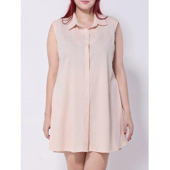 Buttoned Chiffon Shirt Dress