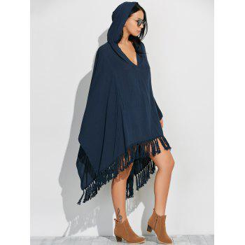 Side Slit Hooded Caped Poncho Dress - CADETBLUE CADETBLUE
