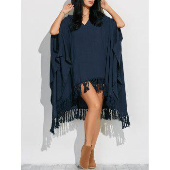 Side Slit Hooded Caped Poncho Dress - CADETBLUE M
