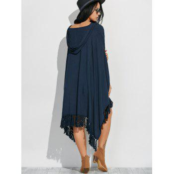 Side Slit Hooded Caped Poncho Dress - S S