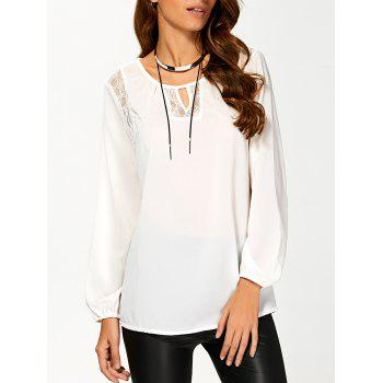 Cut Out Lace Splicing T-Shirt