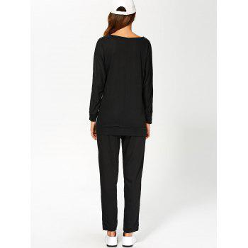 Color Block Sweatshirt With Pants Suit - WHITE/BLACK WHITE/BLACK
