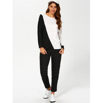 Color Block Sweatshirt With Pants Suit - WHITE AND BLACK WHITE/BLACK