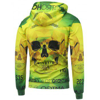 Drawstring 3D Skull Printed Hooded Long Sleeve Hoodie - YELLOW/GREEN YELLOW/GREEN