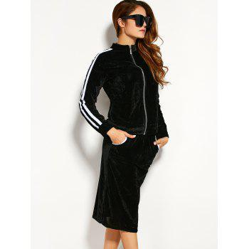 Cosy Pleuche Zipper Jacket With Pencil Skirt Twinset - BLACK M