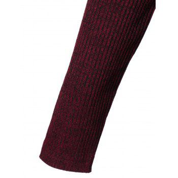 Zippers Embellished Ribbed Pencil Casual Dress Winter - DEEP RED XL