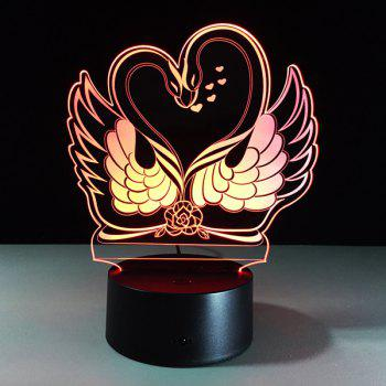 3D Visual 7 Color Changing Swan Shape Touch LED Night Light - COLORFUL