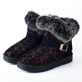 Belt Buckle Faux Fur Snow Boots - BLACK/RED 39