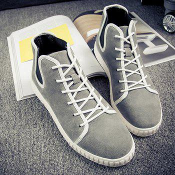 Lace Up Suede Ankle Boots - GRAY GRAY