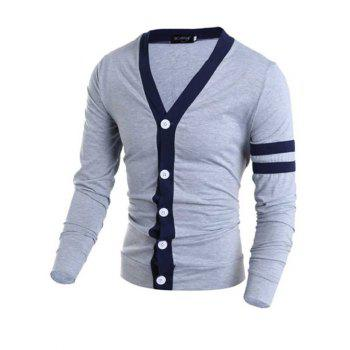 Stylish V-Neck Color Block Stripes Purfled Design Long Sleeves Cotton Blend Cardigan For Men - GRAY XL