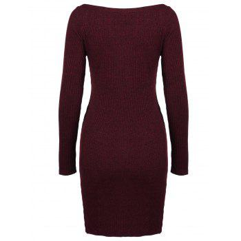 Zippers Embellished Ribbed Pencil Casual Dress Winter - DEEP RED M
