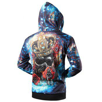 Zip Up Side Pocket Crown Skull 3D Print Hoodie - BLUE L