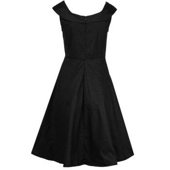 Retro Fit and Flare Swing Dress - BLACK L
