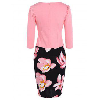 Floral Knee Length Pencil Fitted Work Dress - PINK 3XL