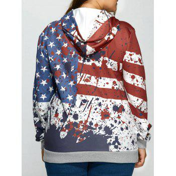 Splashed Ink American Flag Kangaroo Pocket Hoodie - COLORMIX COLORMIX