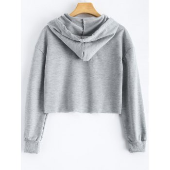 Polka Dot Cut Out Cropped Short Hoodie - LIGHT GREY S