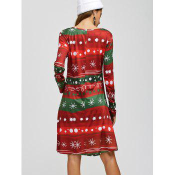 Snowflake Print Long Sleeves Xmas Swing Dress - RED/GREEN ONE SIZE