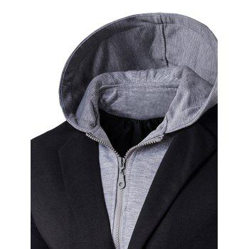Hooded Zip-Up Spliced Faux Twinset One-Button Jacket - BLACK L