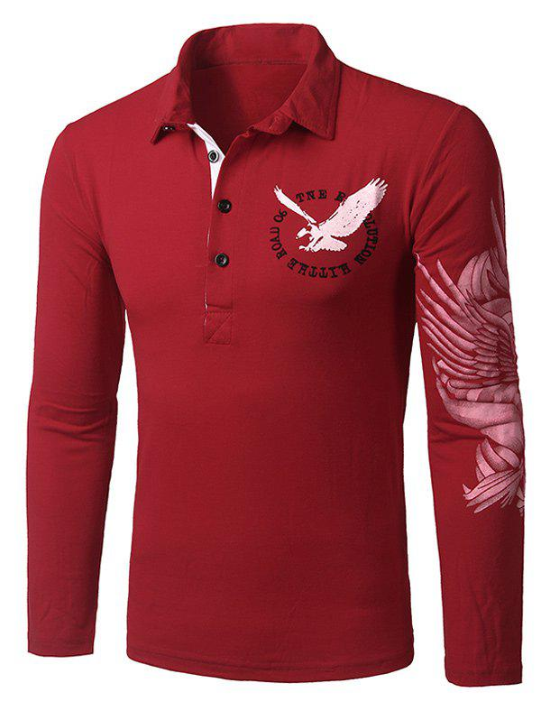 Stylish Turn-down Collar Animal Eagle Print Hit Color Men's Long Sleeves Polo T-Shirt - CLARET L
