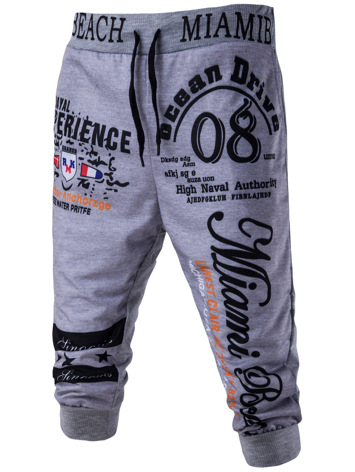 Casual Men's Lace Up Letters Printed Jogger Pants - GRAY M