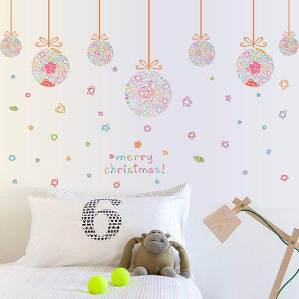 Christmas Colorful Pendant Ball Removable DIY Festival Wall Stickers removable colorful christmas penguins children s room wall stickers
