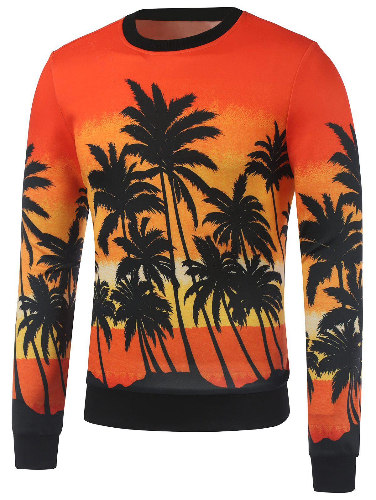 Crew Neck Coconut Tree Printed Sweatshirt - ORANGE M