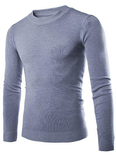 Laconic Round Neck Wheat Embroidered Stripes Intarsia Long Sleeves Men's Slim Fit Sweater - LIGHT GRAY M