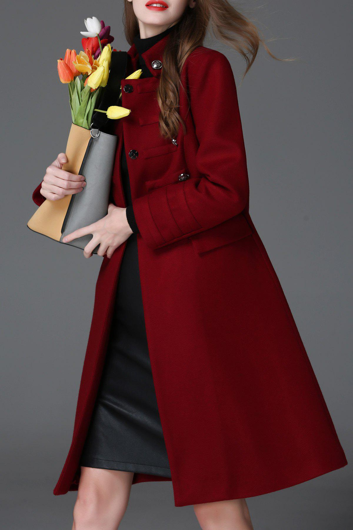Buttoned Wool Blend A Line CoatWomen<br><br><br>Size: S<br>Color: RED