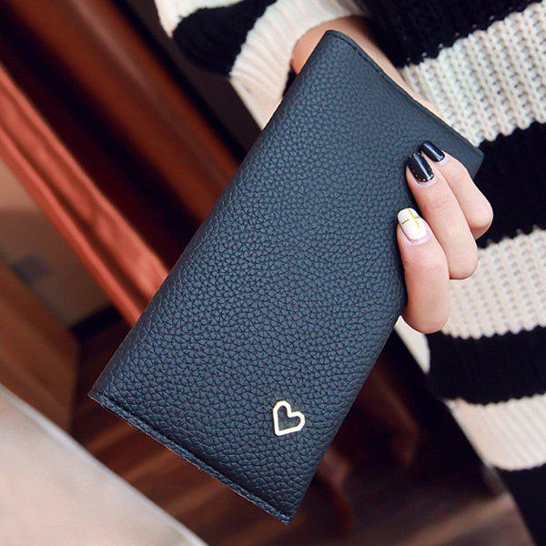 Snap Closure Textured Leather Heart Pattern Wallet - BLACK