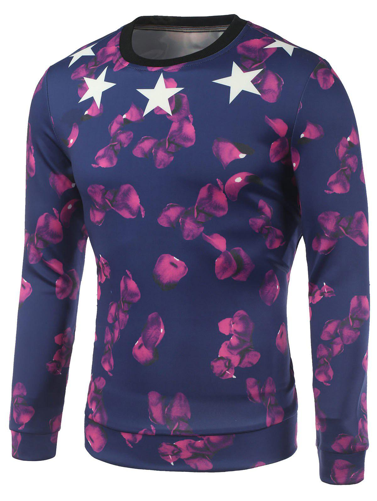 Crew Neck Petal and Star Printed Sweatshirt - DEEP BLUE M
