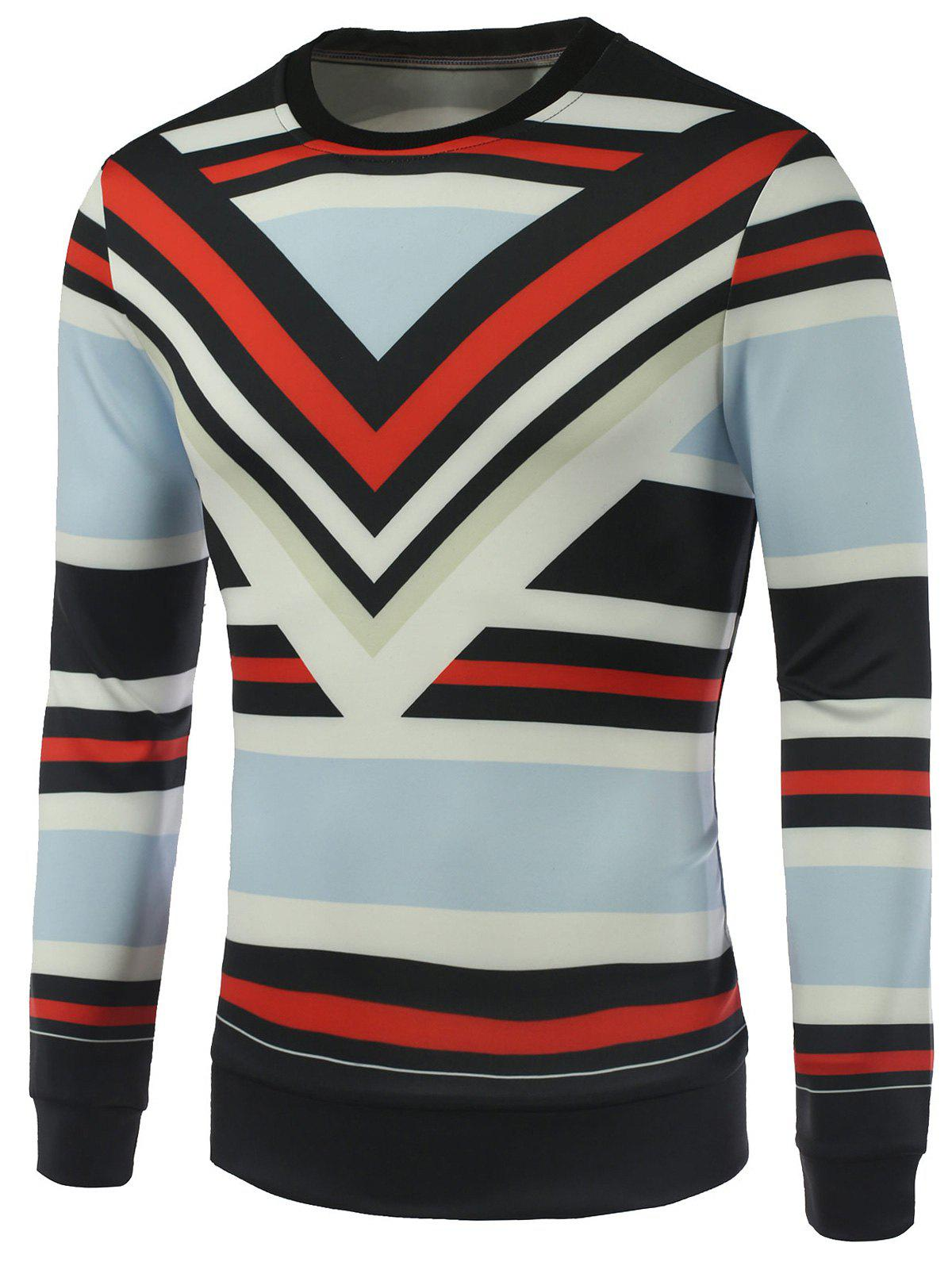 Crew Neck Stripe Printed Sweatshirt - STRIPE M