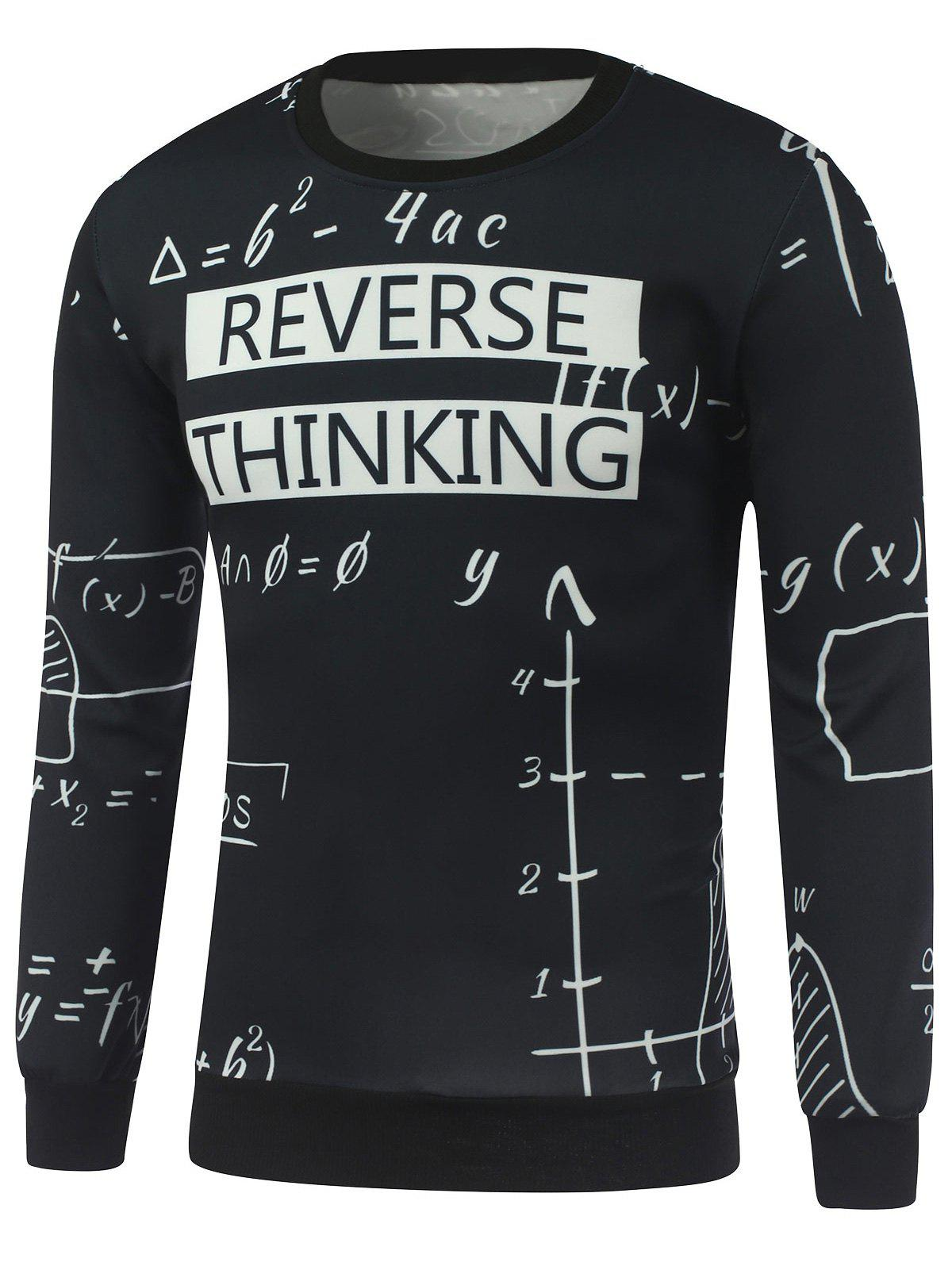 Mathematics Print Crew Neck Sweatshirt - BLACK S