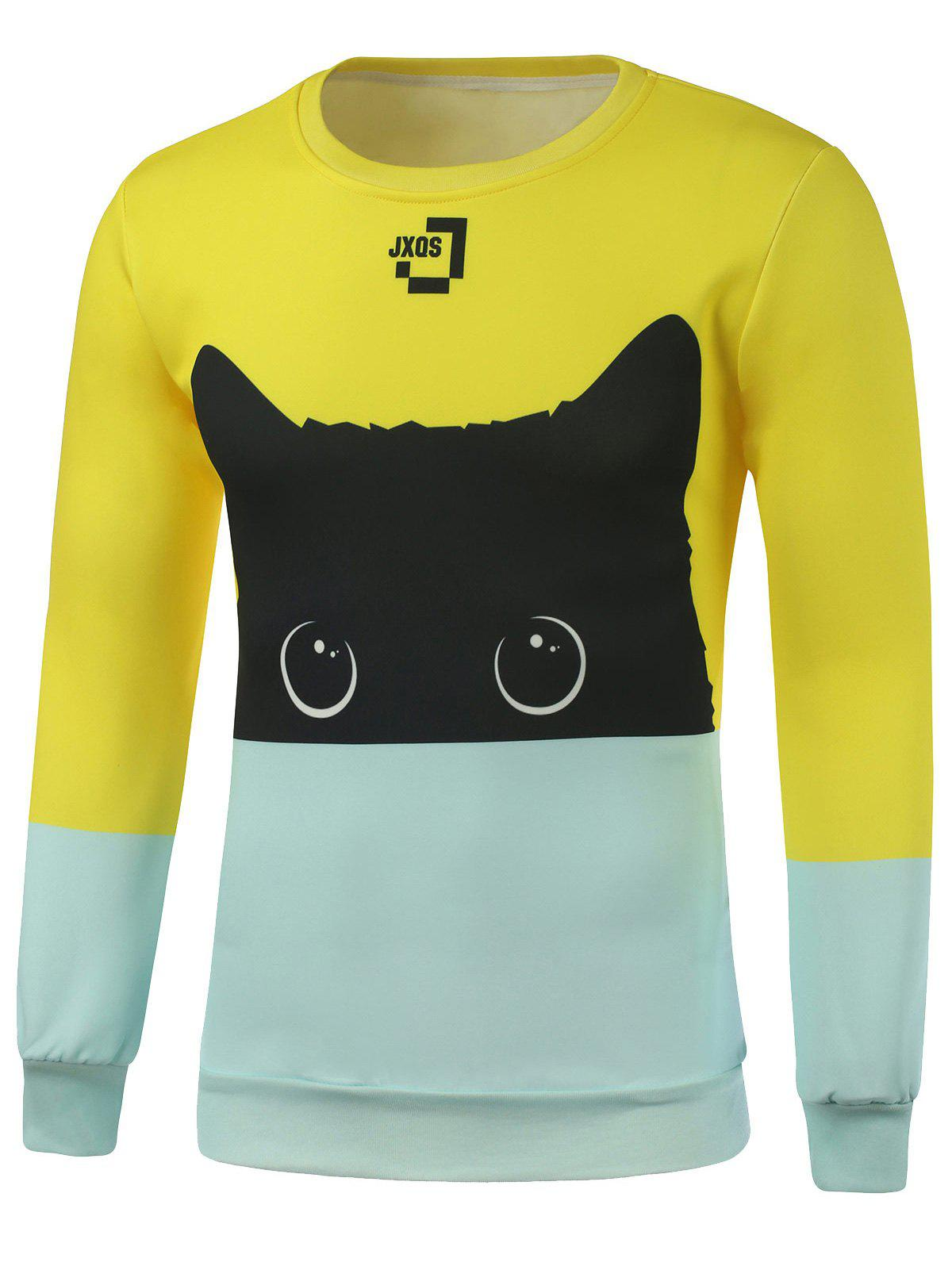 Buy Crew Neck Cat Printed Color Block Sweatshirt COLORMIX