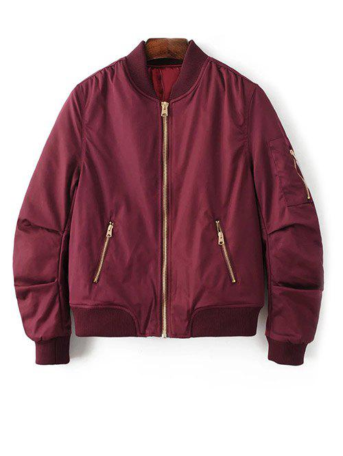 Zipped Bomber Jacket - BURGUNDY M