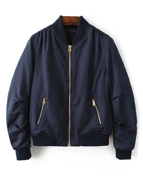 Zipped Bomber Jacket - CADETBLUE S