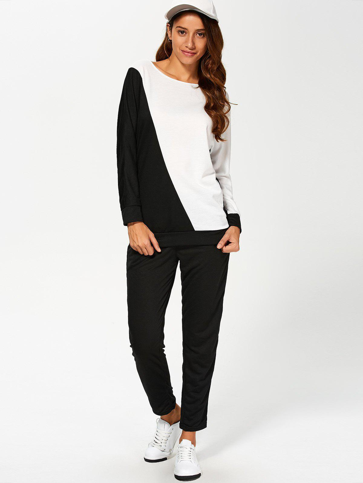 Color Block Sweatshirt Avec Pants Suit - Blanc et Noir M