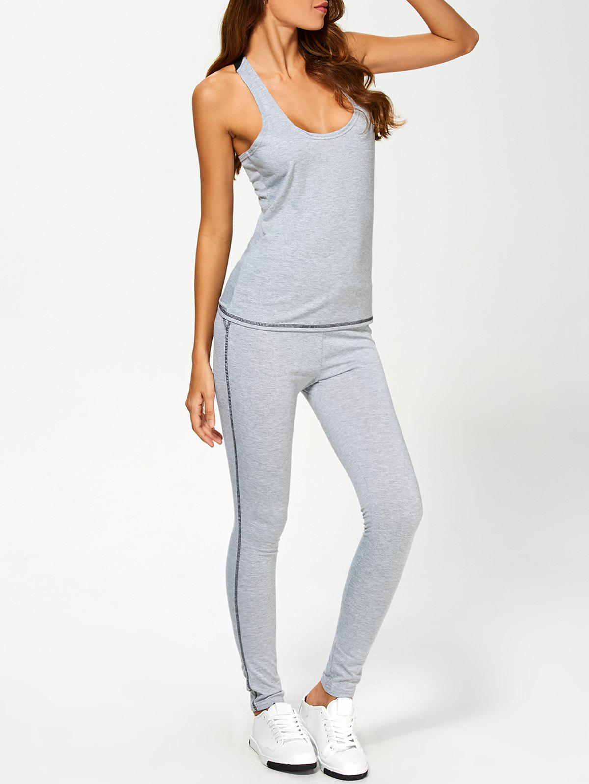 U Neck Color Block Tank Top and Sports Skinny Leggings - GRAY XL
