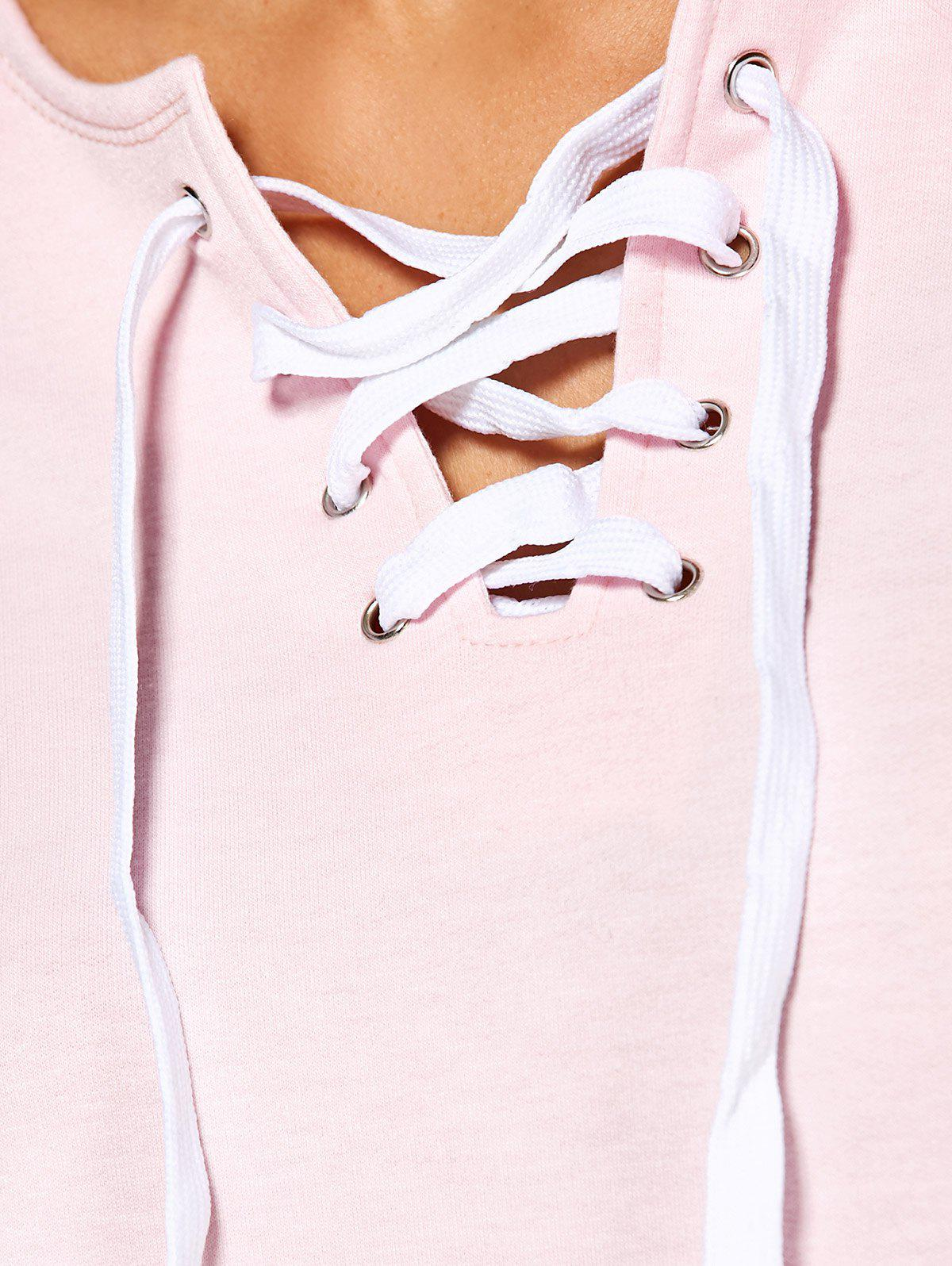 Lace-Up Casual Sweatshirt - PINK M