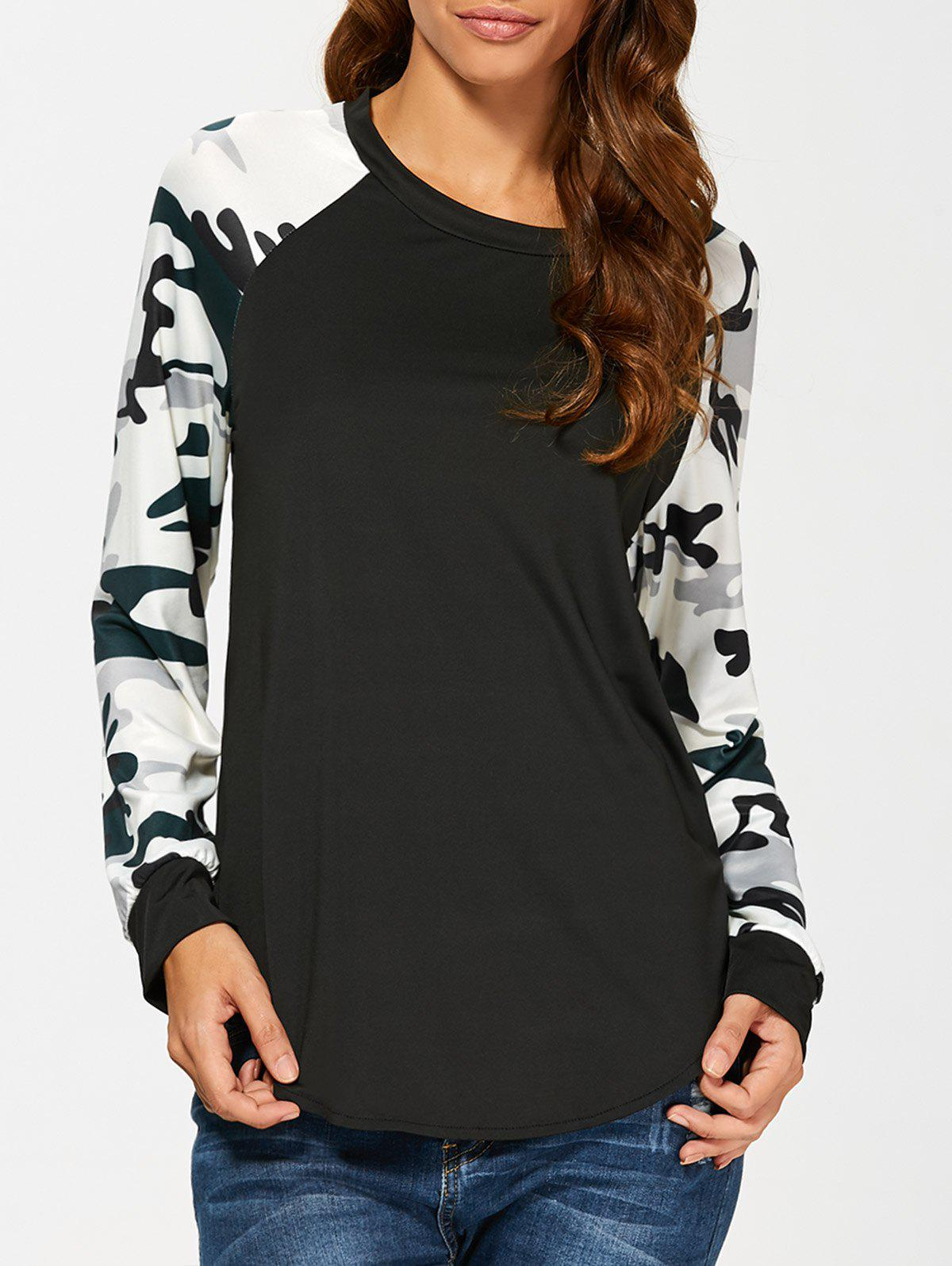 Camouflage Long Sleeve T-Shirt - BLACK S